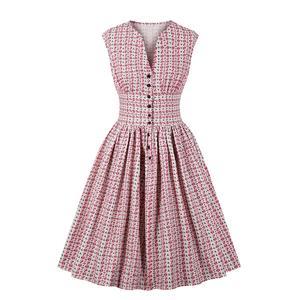 Vintage Pink Floral Print V Neck Sleeveless High Waist Swing Dress N18667