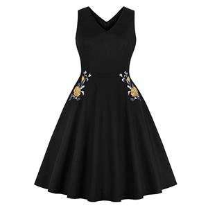 Cute Swing Dress, Retro Embroidered Dresses for Women 1960, Vintage Dresses 1950