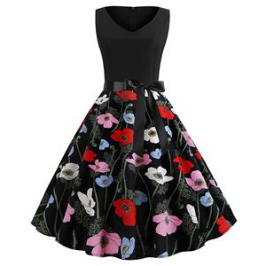 Vintage V Neck Black Bodice and Colorful Flower Pattern Splicing Sleeveless Summer Swing Dress N18824