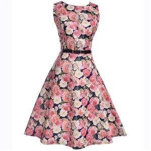 Vintage Dresses for Girls, Floral Print Dress, Sleeveless Dress, Round Collar Dress, Back Zipper Dress, Retro Dresses for Girls, Swing Dress, #N15477