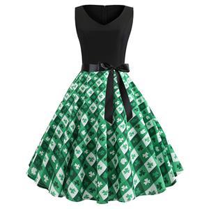 Sexy Four-leaf Pattern A-line Swing Dress, Retro Plaid Four-leaf Clover Dresses for Women, Vintage Dresses 1950