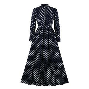 Vintage Frill Collar Polka Dots Front Button Long Sleeve Maxi Dress N19804