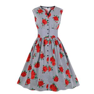 Vintage Rockabilly Rose and Pinstripe V Neck Front Button Sleeveless High Waist Swing Dress N19158