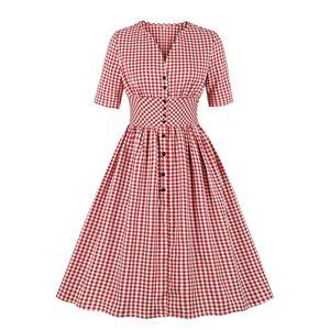 Cute Red Check Swing Dress, Retro Plaid Dresses for Women 1960, Vintage Dresses 1950