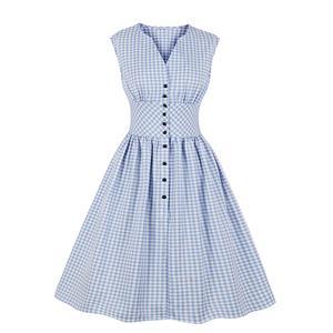Cute Check Swing Dress, Retro Plaid Dresses for Women 1960, Vintage Dresses 1950