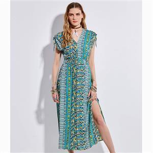 Sleeveless Maxi Dress, V Neck Maxi Dress, Vintage Slit Maxi Dress, Vintage Geometric Print Dress, Casual Maxi Dress Sleeveless, Fashion Backless Dress, #N15685