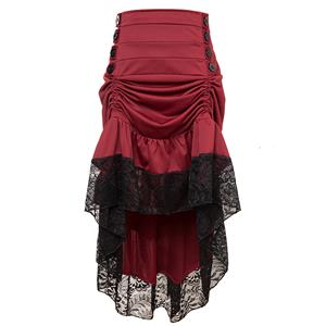 Gothic Party Red High-low Skirt, High Wiat Button Skirt for Women, Gothic Cosplay High-low Skirt, Halloween Costume Skirt, Plus Size Skirt, Vintage Gothic Pirate Costume, #N17137