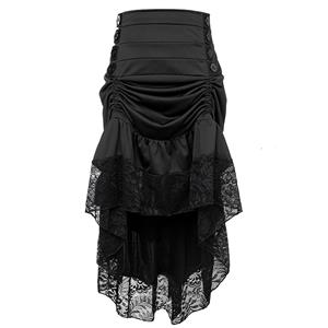 Gothic Party Black High-low Skirt, High Wiat Button Skirt for Women, Gothic Cosplay High-low Skirt, Halloween Costume Skirt, Plus Size Skirt, Vintage Gothic Pirate Costume, #N17138