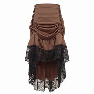 Gothic Party Brown High-low Skirt, High Wiat Button Skirt for Women, Gothic Cosplay High-low Skirt, Halloween Costume Skirt, Plus Size Skirt, Vintage Gothic Pirate Costume, #N18636