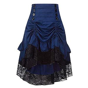 Gothic Party Brown High-low Skirt, High Wiat Button Skirt for Women, Gothic Cosplay High-low Skirt, Halloween Costume Skirt, Plus Size Skirt, Vintage Gothic Pirate Costume, #N20863