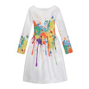Rose Print Dress, Long Sleeve Dress, Round Collar Dress, Girls Lovely Dress, Vintage Dresses for Girls, Girls Swing Dress, Back Zipper Dress, A-Line Dress, #N15526
