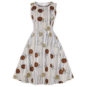 Vintage Wood Grain and Roses Print Round Neckline Sleeveless High Waist Swing Dress N18652