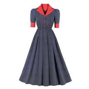 Vintage Hepburn Polka Dots Suit Collar Half Sleeve Elastic Waist Party Big Swing Dress N20832