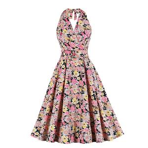 Vintage Floral Print Halter Lace-up V Neck Backless Bodice Belt Summer Party Dress N20575