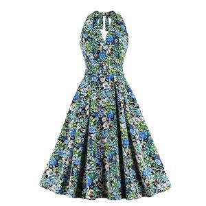 Cute Summertime Floral Print A-line Swing Dress, Retro Backless Dresses for Women 1960, Vintage Dresses 1950