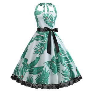 Cute Summertime Leaves Print A-line Swing Dress, Retro Backless Dresses for Women 1960, Vintage Dresses 1950