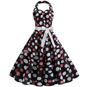 Cute Summertime Polka Dots Print A-line Swing Dress, Retro Backless Dresses for Women 1960, Vintage Dresses 1950