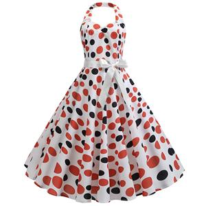 Cute Summertime Polka Dots Print A-line Swing Dress, Retro Backless Dresses for Women 1960, Vintage Dresses 1950
