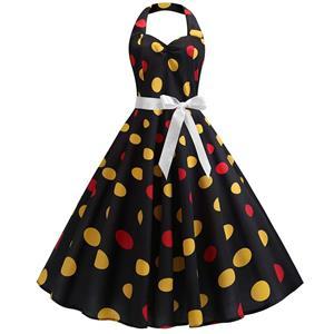 Vintage Polka Dots Print Halterneck Sweetheart Bodice High Waist Summer Swing Dress N18837