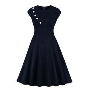 Hepburn Style Dresses, Cute Summer Swing Dress, Retro Simple Dresses for Women 1960, Vintage Lapel Dresses 1950