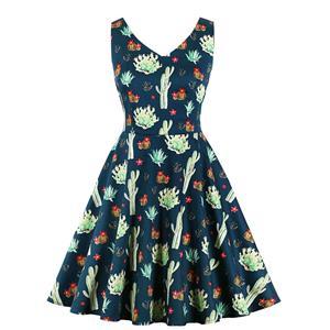 Vintage Print Dress, Fashion High Waist A-line Swing Dress, Retro Dresses for Women 1960,Sleeveless Summer Dress, Vintage High Waist Dress for Women, V Neck Sleeveless Dresses for Women, Vintage Summer Dresses for Women, #N20562