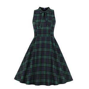 Cute Summertime Printed A-line Swing Dress, Retro Plaid Dresses for Women 1960, Vintage Checkered Dresses 1950