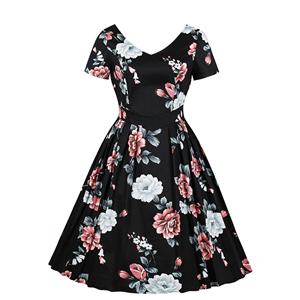 Cute Floral Summertime Printed A-line Swing Dress, Retro Floral Printed Dresses for Women 1960, Vintage Floral Printed Dresses 1950