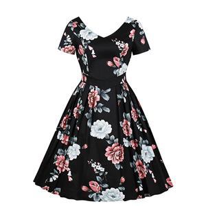 Retro Floral Print V Neckline Short Sleeve High Waist Pleated Swing Dress N18876
