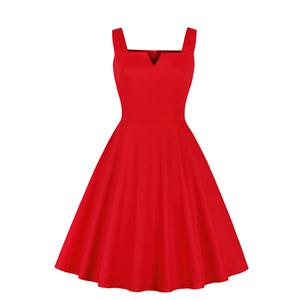 Red Bridal Dress, Cute Red A-line Swing Dress, Retro Dresses for Women 1960, Vintage Dresses 1950