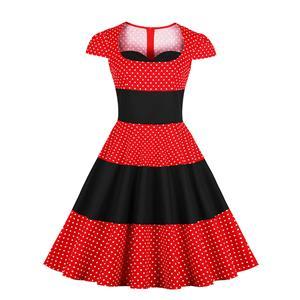 Vintage Red Polka Dots Dress, Cute Red A-line Swing Dress, Retro Dresses for Women 1960, Vintage Dresses 1950
