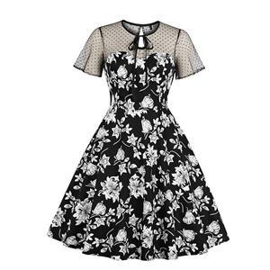 Vintage Printed Dress, Fashion A-line Swing Dress, Retro Dresses for Women 1960, Vintage Dresses 1950