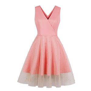 Vintage Glitter Sheer Mesh Dress, Fashion A-line Swing Dress, Retro Dresses for Women 1960, Vintage Dresses 1950
