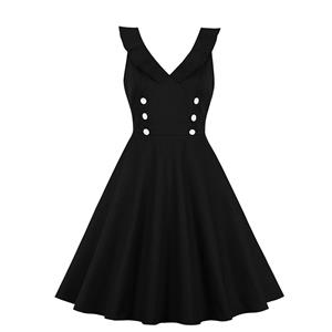 Vintage Double-breasted Dress, Fashion Ruffle Lapel A-line Swing Dress, Retro Dresses for Women 1960, Vintage Dresses 1950