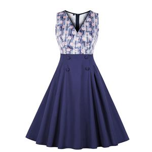 Vintage Double-breasted Dress, Fashion High Waist A-line Swing Dress, Retro Dresses for Women 1960, Vintage Dresses 1950