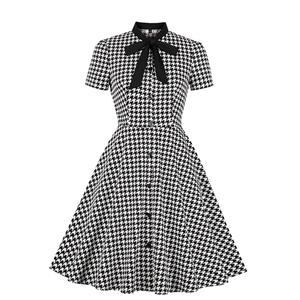 Vintage Houndstooth Dress, Fashion Houndstooth High Waist A-line Swing Dress, Retro Houndstooth Dresses for Women 1960, Vintage Dresses 1950