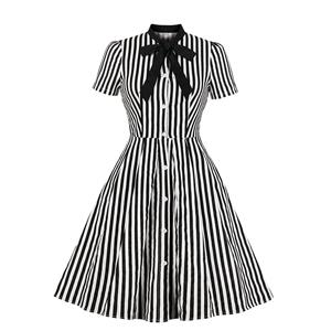 Vintage Vertical Stripes Dress, Fashion Vertical Stripes High Waist A-line Swing Dress, Retro Vertical Stripes Dresses for Women 1960, Vintage Dresses 1950