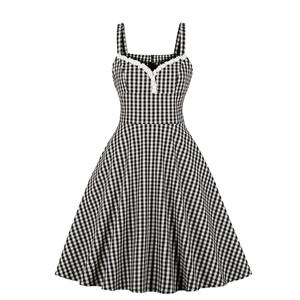 Vintage Rockabilly Checkered Strap Sleeveless Braces Frock High Waist Swing Dress N18962