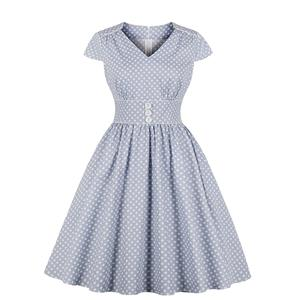 Vintage Polka Dots Dress, Fashion Polka Dots High Waist A-line Swing Dress, Retro Dresses for Women 1960, Vintage Dresses 1950