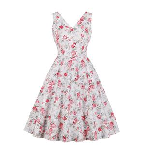 Vintage Floral Print Dress, Fashion Floral Pattern High Waist A-line Swing Dress, Retro Dresses for Women 1960, Vintage Dresses 1950