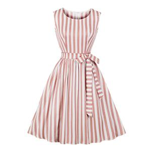 Retro Vertical Striped Dress, Fashion Vertical Striped High Waist A-line Swing Dress, Retro Dresses for Women 1960, Vintage Dresses 1950