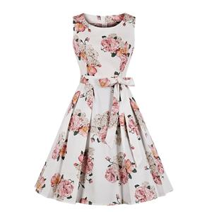 Vintage Rockabilly Floral Printed Round Collar Sleeveless Frock Summer Day Dress N18980