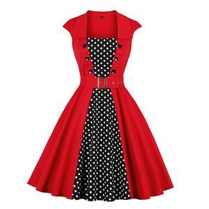 Fashion Polka Dots Printed Cocktail Party Midi Dress, Retro Cocktail Midi Dress, Vintage High Waist Midi Dress, Retro Dresses for Women 1960, Vintage Dresses 1950