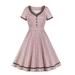 Vintage Rockabilly Floral Pattern Black Trims V Neckline Short Sleeve High Waist Swing Dress N19023