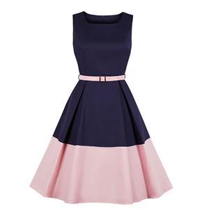 OL Dress, Fashion Contrast Color Cocktail Party Midi Dress, Retro Cocktail Midi Dress, Vintage High Waist Midi Dress, Retro Dresses for Women 1960, Vintage Dresses 1950