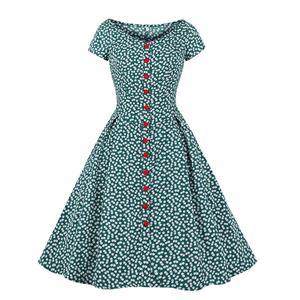 Vintage Rockabilly Floral Print Scoop Neck Front Button Short Sleeve Swing Dress N19032
