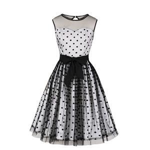 Vintage Sheer Mesh Dress, Fashion Sheer Mesh High Waist A-line Swing Dress, Retro Polka Dots Dresses for Women 1960, Vintage Dresses 1950