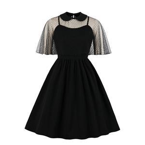 Vintage Sheer Mesh Cape Dress, Fashion Sheer Mesh High Waist A-line Swing Dress, Retro Dresses for Women 1960, Vintage Dresses 1950