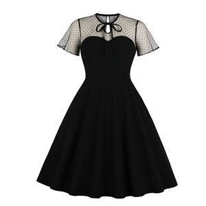 Gothic Sheer Mesh Dress, Fashion A-line Swing Dress, Retro Dresses for Women 1960, Vintage Dresses 1950
