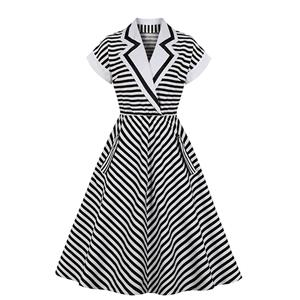 Vintage Black and White Striped Lapel Raglan Sleeve High Waist Swing Dress N20979