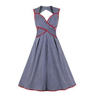 Cute Grid Summertime Printed A-line Swing Dress, Retro Grid Printed Dresses for Women 1960, Vintage Grid Printed Dresses 1950